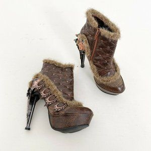 Hades Footwear Agnes Steampunk Ankle Boots Brown